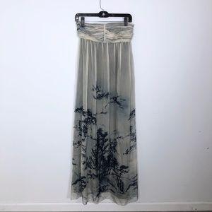 Zara Strapless Forest Tree Maxi Dress